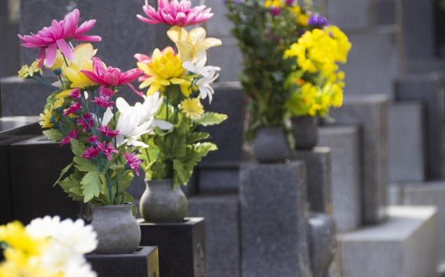 お墓に添えられた花