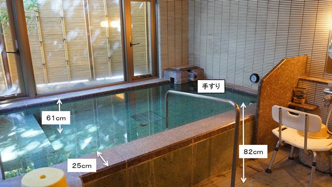 貸切風呂の様子。手すりの高さは82㎝、湯舟の深さは61㎝、湯舟のフチの厚みは25㎝。