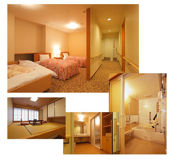 ベッドルームにはベッド3台。1台はリクライニング。和室の様子。洗面所と風呂の様子。