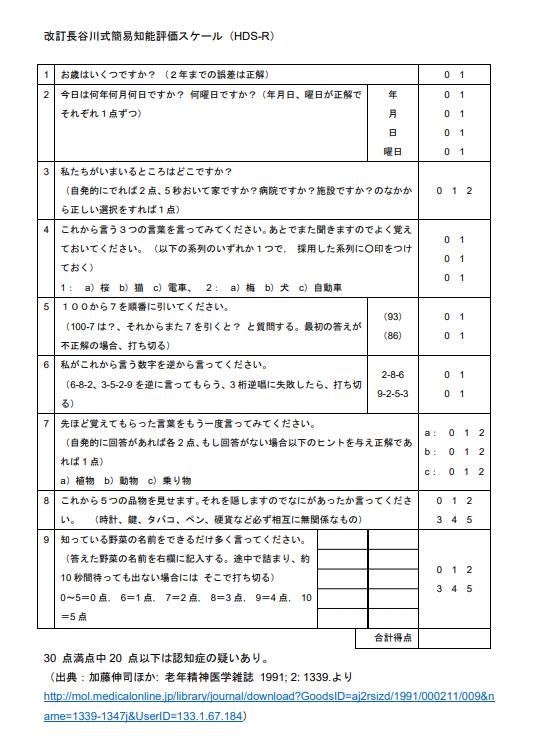 認知 症 スケール 長谷川 式 HDS‐R(長谷川式認知症スケール)の目的と評価方法、注意点、カットオフ値を解説!
