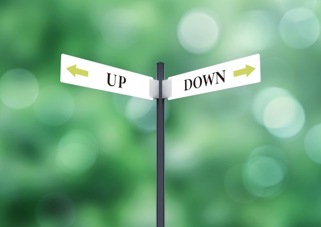 アップとダウンの標識